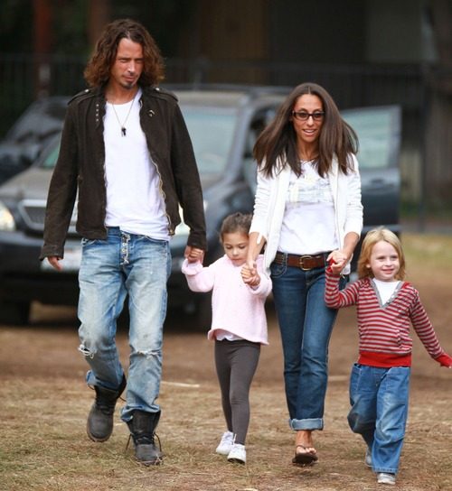 Chris Cornell and family visit Pumpkin Patch in Hollywood, CA